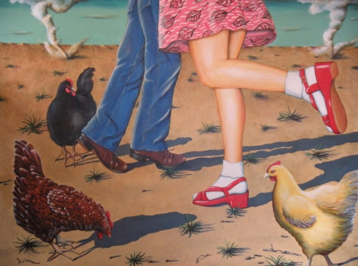 "Dances With Chickens 36""x48"""