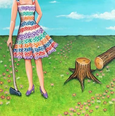 "Backwoods Barbie 16""x16"" - $1,400"